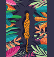 cute exotic wild big cat cheetah walking through vector image vector image