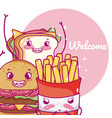 cute fast food kawaii cartoon vector image vector image