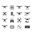 drones black icon set helicopter technology and vector image vector image