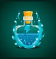 elixir bottle with energy in magic smoke vector image vector image
