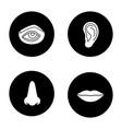 facial body parts glyph icons set vector image