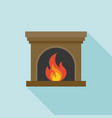 fire and fireplace icon with long shadow vector image vector image