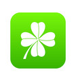four leaf clover icon digital green vector image