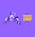 friendship day woman and man fist bump banner vector image vector image
