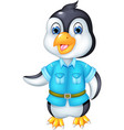 funny pinguin cartoon posing with smile and waving vector image vector image