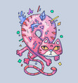funny pink cat twisted into a loop cartoon vector image