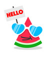 funny watermelon cartoon face vector image