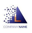 golden letter l logo symbol in blue pixel triangle vector image vector image