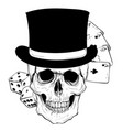 gothic coat arms with skull and playing card vector image