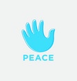 hand breadth like blue pigeon with contour blue vector image