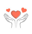 heart in his hands symbol love and charity vector image vector image