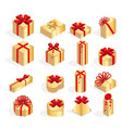 isometric set colorful gift boxes with bows and vector image vector image