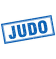 judo blue grunge square stamp on white vector image vector image