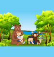 kids with friendly animals in forest vector image vector image
