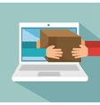 laptop delivery concept hands hold box vector image