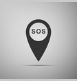marker location with sos icon isolated vector image vector image
