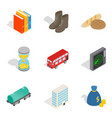 material icons set isometric style vector image vector image