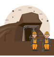 mining workers cartoon vector image vector image