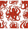 octopus seamless pattern hand drawn seafood vector image vector image