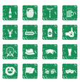 oktoberfest icons set grunge vector image vector image