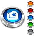 Photo 3d button vector image vector image