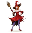 Pretty witch with a broom vector image