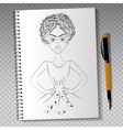 Realistic notebook with drawing vector image