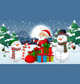 scene with santa and snowman vector image vector image
