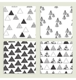 Set of eamless hand-drawn triangles pattern vector image vector image