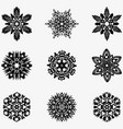 set of winter snowflakes for christmas black vector image vector image