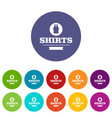 shirt icons set color vector image
