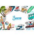 surf poster vintage surfer banner retro wave and vector image