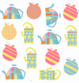 tea pot seamless pattern it is located in swatch vector image