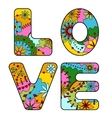 word love painted colorful vector image vector image