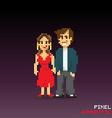 Pixel romantic couple vector image