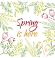 Spring is here card vector image