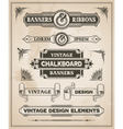 Vintage retro banner and ribbon set vector image