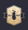 golf shop vintage emblem logo on dark vector image