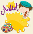 Artist holding paintbrush and plate vector image