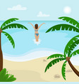 beach landscape with palm trees vector image vector image