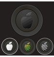 Black buttons set with apple silhouette vector