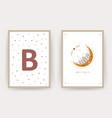 boho moon posters with kid name scandinavian vector image vector image