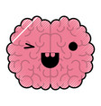 brain character with eye wink expression in vector image