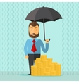 businessman with umbrella vector image vector image