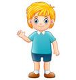 cartoon boy waving hand vector image