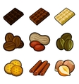 Chocolate and coffee icon set vector image vector image