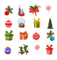 christmas set with pine branches decorations vector image