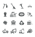 Coal mining equipment black icons set vector image vector image