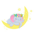cute grey elephant sleeps on crescentchildren vector image vector image