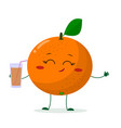 cute orange cartoon character holding a glass with vector image